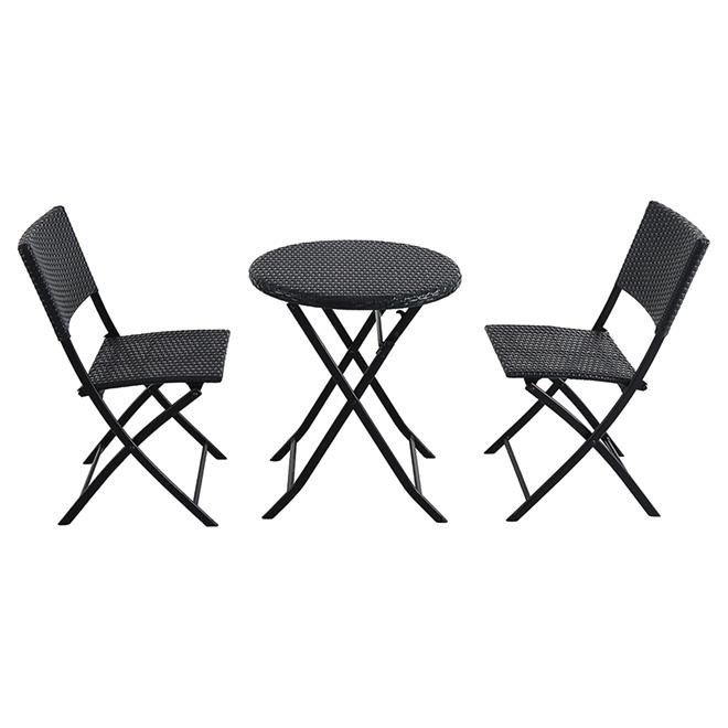 Bistro Set - 3 Pieces - Folding Chairs - Steel/Wicker