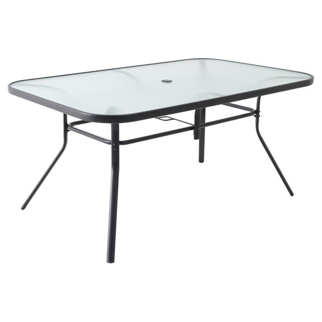 """Table à diner avec dessus en vitre, 60,04"""" X 38"""" X 27,95"""""""