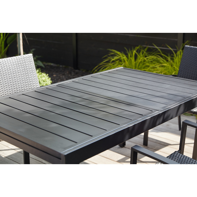 """Table à diner extensible Pelham Bay, acier, 61"""" X 37"""" X 30"""", noir mat"""