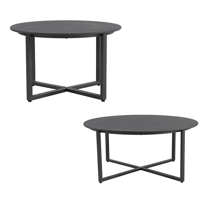 Tables gigognes rondes pour patio, 2 pièces, gris