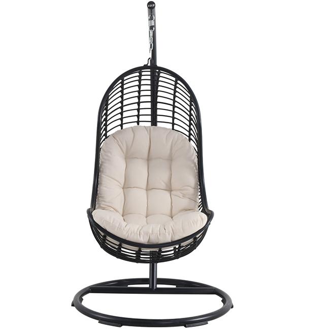 Allen roth chaise suspendue acier et osier noir et gris gcs09060b rona - Chaise suspendue jardin ...