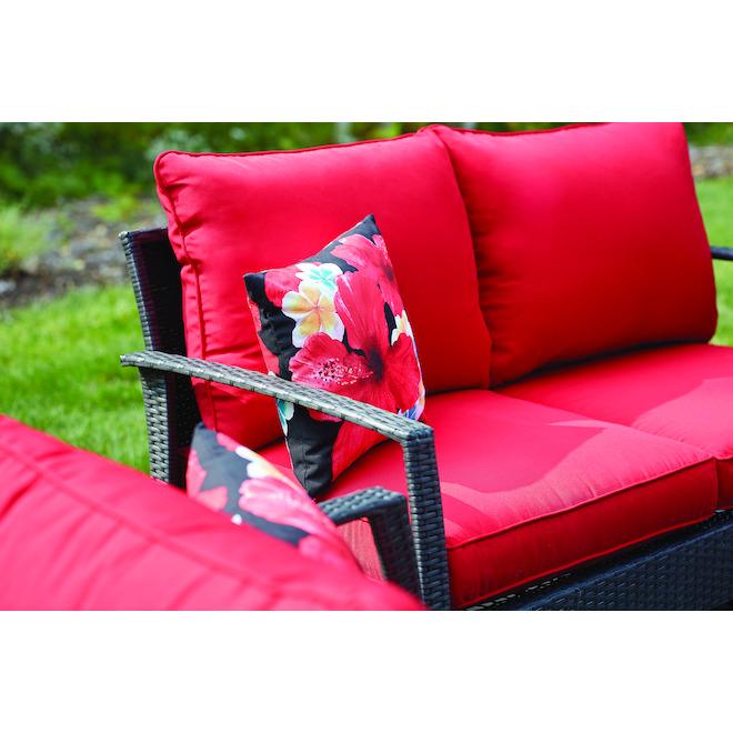 Allen + Roth Addison Outdoor Conversation Set - Black/Red - 4 Pieces