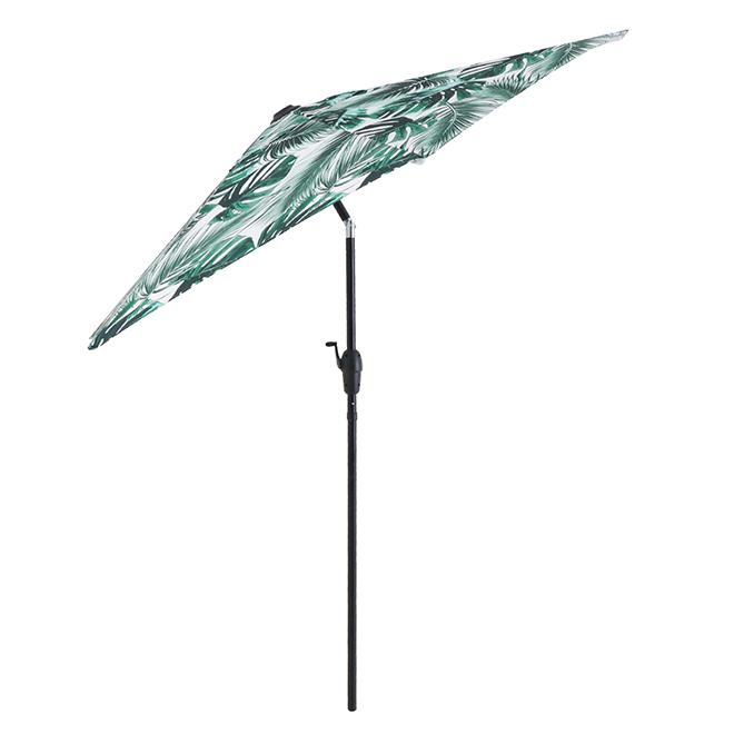 Market Umbrella - Leaf Pattern - 7.5' - Steel/Fabric - Green