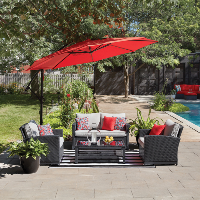 Offset Umbrella - 10' - Steel/Fabric - Red
