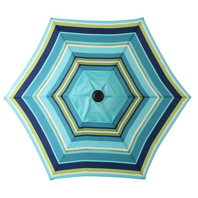 Multi-Stripe Market Umbrella - 7.5' - Steel/Fabric - Blue