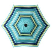Multi-Stripe Market Umbrella - 7.5' - Steel/Fabric - Blue