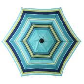 Parasol de marché à rayures, 7,5', acier/tissu, bleu