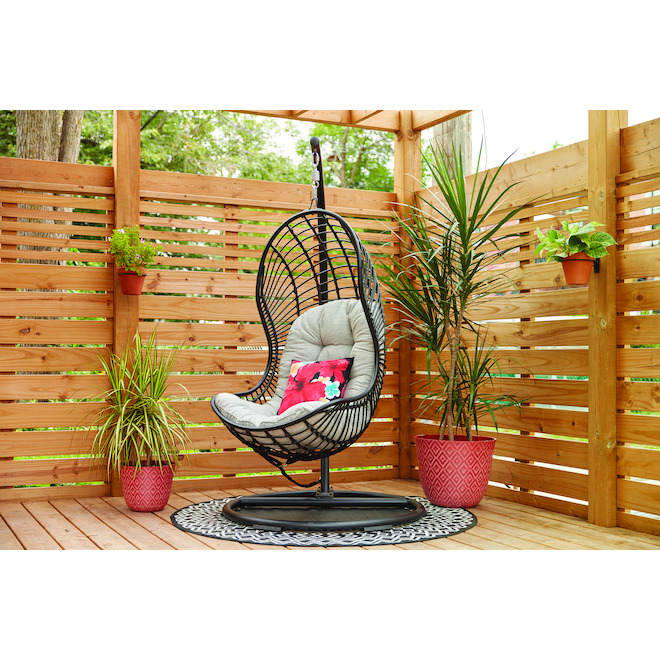 Style Selections - Cresley Hanging Chair - Steel and Wicker - 41.34-in x 77.17-in - Black