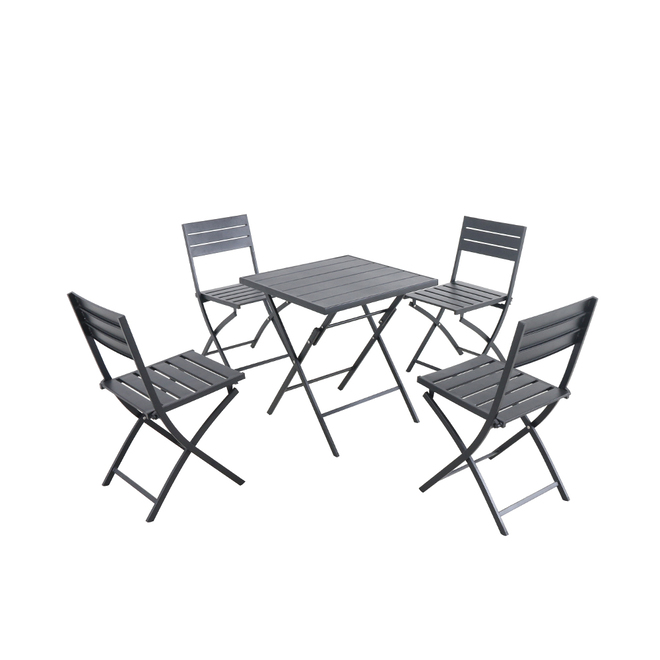 Style Selections Patterson Folding Dining Set - 5-Piece - Black - Stainless Steel