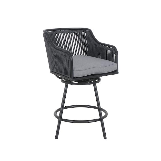 Chaises hautes pivotantes Greywood par Style Selections, grise, acier, 2 pièces