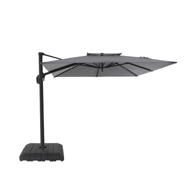 Parasol de patio excentré Allen + Roth, aluminium et oléfine, carré, inclinable, gris