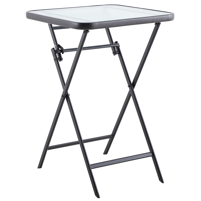 Style Selections Pelham Bay Folding Table - Steel and Glass - 29-in x 23 1/2-in
