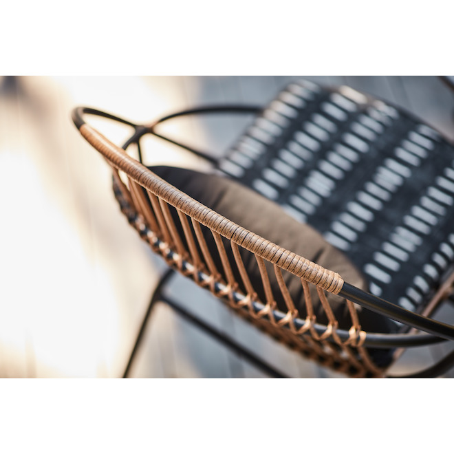 Style Selections Archer Conversation Set - 3 Pieces - Steel and Wicker - Black/ Grey
