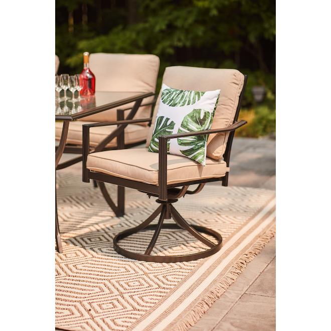 Chaise de patio pivotante Glenn Hill de Syle Selections, acier et oléfine, brun clair, ensemble de 2
