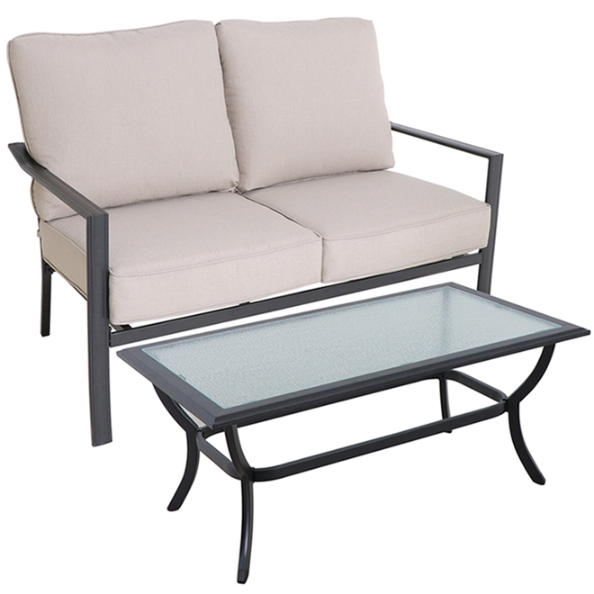 Style Selections Glenn Hill Loveseat and Coffee Table - Steel - Tan - 2 Seats