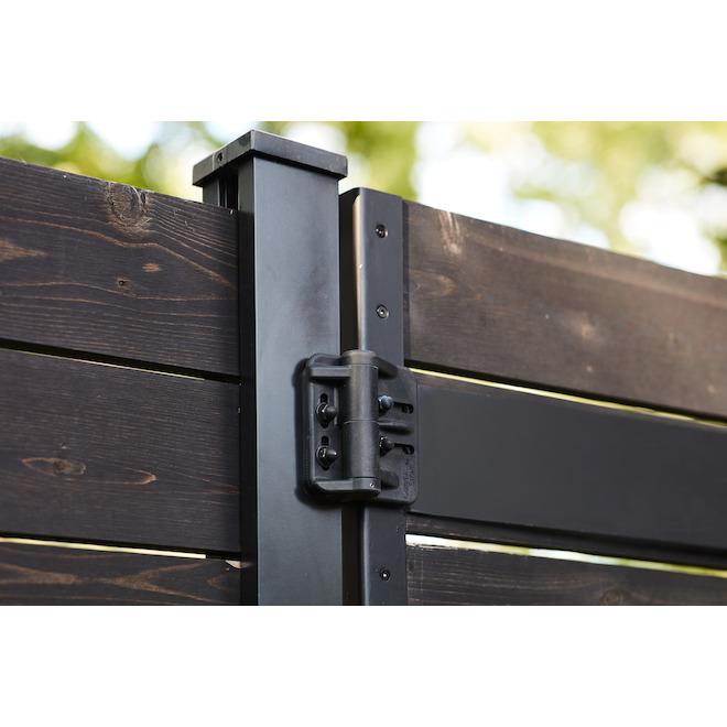 Ensemble de poteau d'extrémité HOFT A8 pour clôture enterrée, 96 po, noir