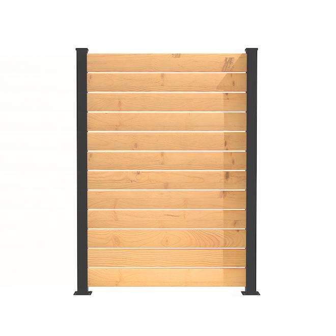"""Ensemble de poteau de fin, écran d'intimité, aluminium, 72"""" x 3'', Noir, AA6, 2/pqt"""