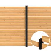 "Line Post Kit - Privacy Screen - Aluminum - 72"" x 3"" - Black - C6"