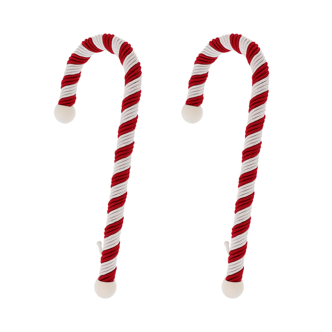 Haute Decor Candy Cane Stocking Holders - Rope/Metal - 9-in - Red/White - Pack of 2