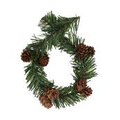 Garland Twist Ties with Pinecones - 14-in - PVC - Green and Brown - 10-Pack