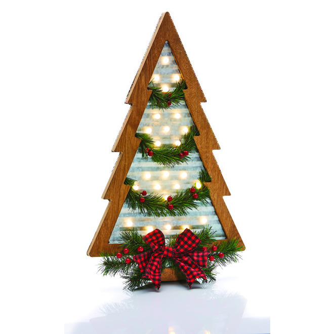 Haute Decor Lighted Wall Tree - LED - 12-in x 24-in - Steel/PVC/Wood - Brown