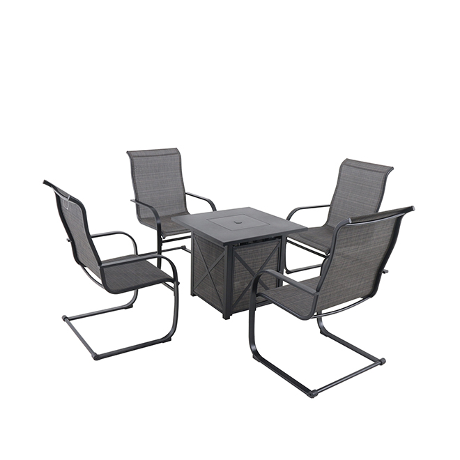Hartford 5-Piece Patio Set with Gas Fire Table - C-Spring Motion Chairs - Black