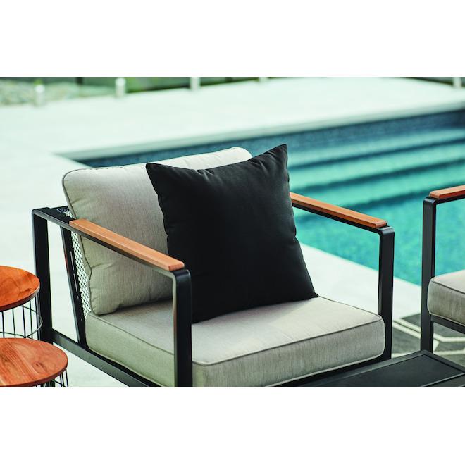 Sunbrella Fabric Cushion - Acrylic and Polyester - 20-in x 20-in - Black