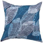 "Polyester Cushion - Leaves - 16"" x 16"" - Aqua"