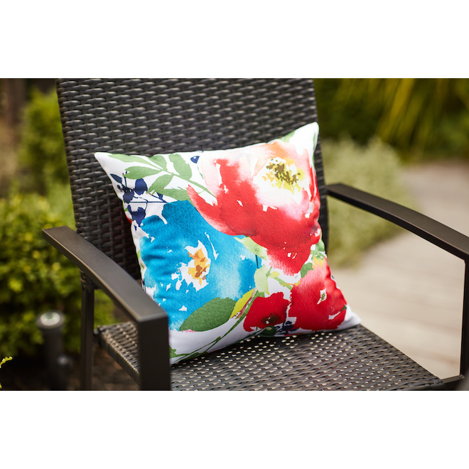 Polyester Cushion - Floral Motif - Watercolour - 16-in x 16-in