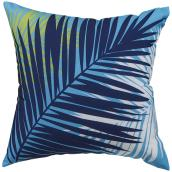 Garden Treasures Polyester Cushion - 16-in x 16-in - Aqua Palm