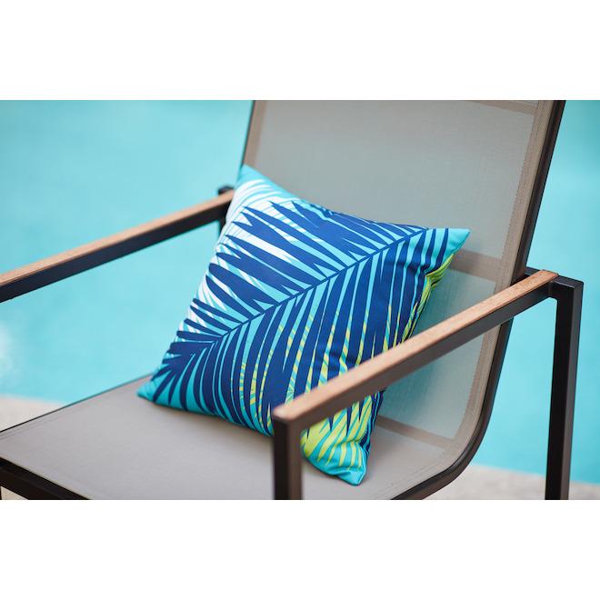 Coussin en polyester Garden Treasures, 16 po x 16 po, palmier aqua