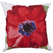 Coussin en polyester, motif floral, 16 po x 16 po, rouge