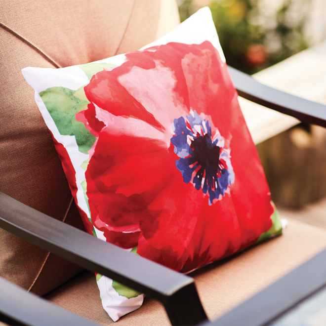 Polyester Pillow - Floral Motif - 16-in x 16-in - Red