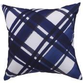 "Decorative Cushion - 16"" x 16"" - White and Blue"