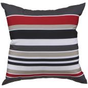 Garden Treasures Polyester Pillow - 16-in x 16-in - Red Range Sripe