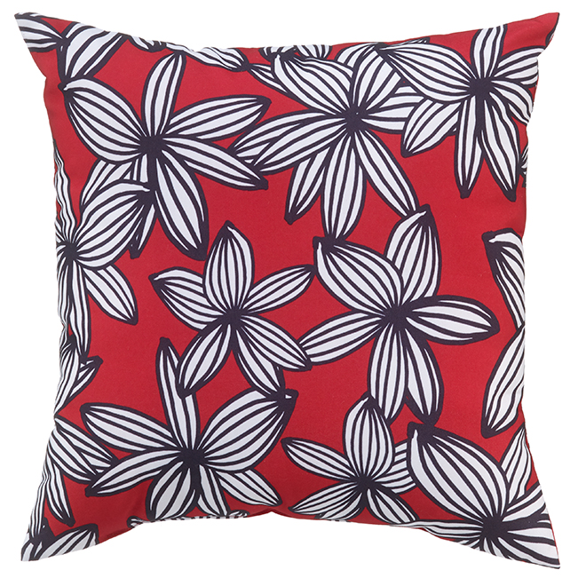 Coussin fleuri pour le patio Style Selections, 16 po x 16 po, polyester, rouge