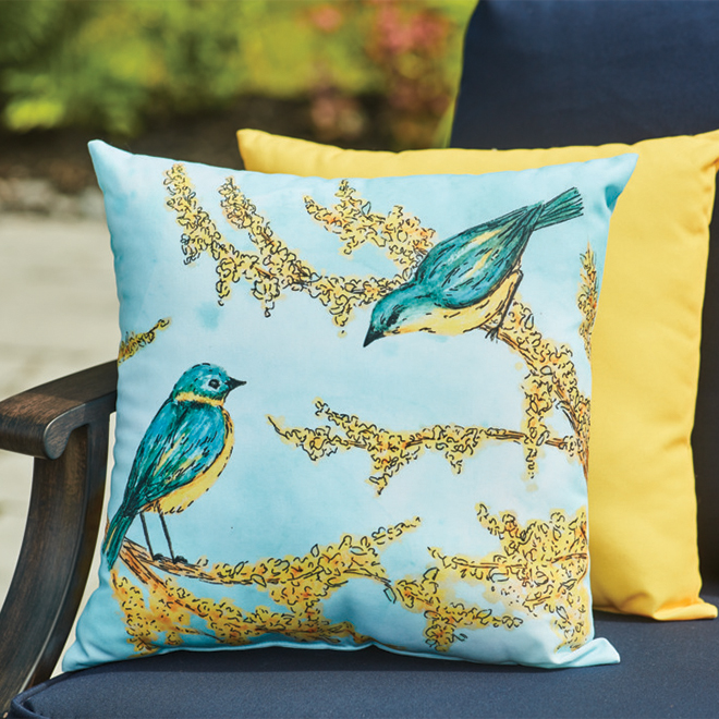 Coussin pour le patio Style Selections, 16 po x 16 po, polyester, oiseaux
