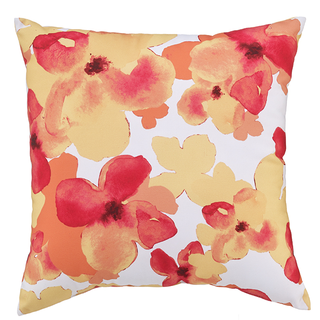 Style Selections Floral Motif Patio Cushion - 16-in x 16-in - Polyester - Multicolour