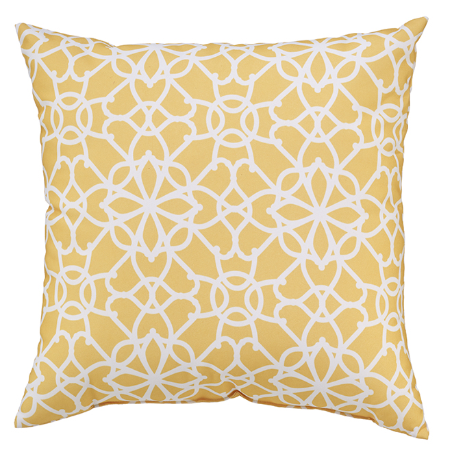 Coussin pour le patio Style Selections, 16 po x 16 po, polyester, jaune