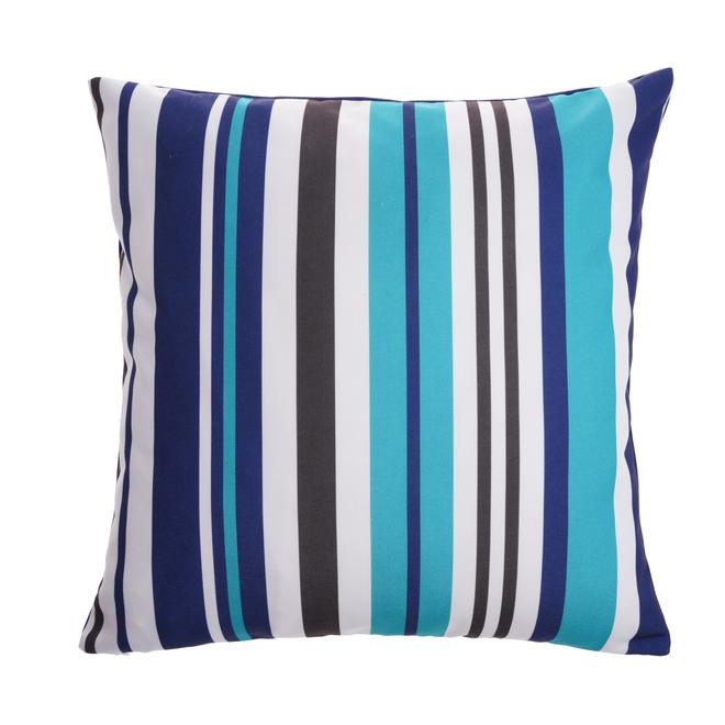 Coussin décoratif Style Selections pour l'extérieur, motif rayé, 16 po x 16 po, polyester, marine