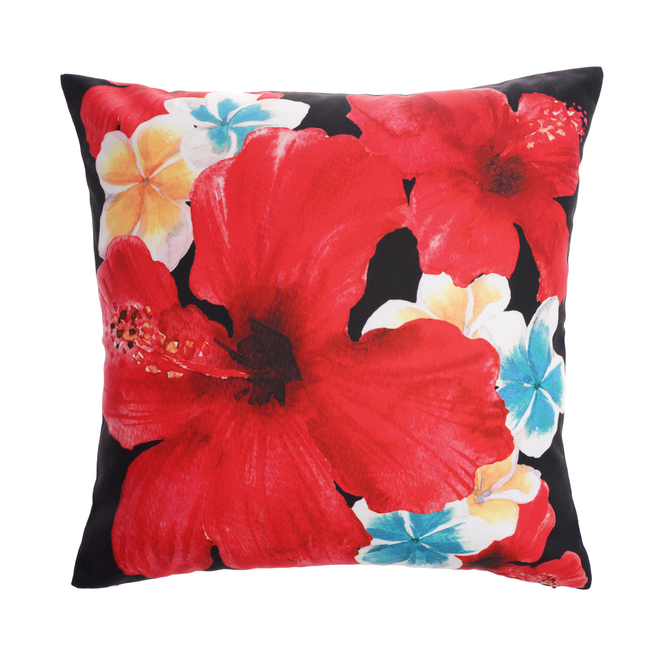 Style Selections Outdoor Throw Pillow Hibiscus Polyester 16 In X 16 In Red Mh20200019 Rona