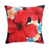Style Selections Outdoor Throw Pillow - Hibiscus - Polyester - 16-in x 16-in - Red