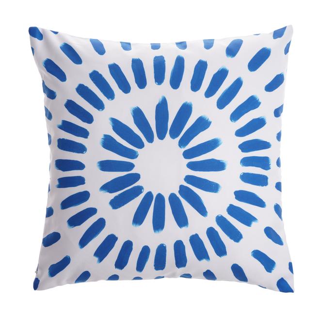 Coussin décoratif Style Selections pour l'extérieur, motif circulaire, 16 po x 16 po, polyester, bleu et blanc