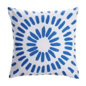 Style Selections Outdoor Throw Pillow - 18-in x 18-in - Polyester - Blue and White
