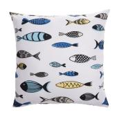 Style Selections Outdoor Throw Pillow - Fish - Polyester - 16-in x 16-in - White