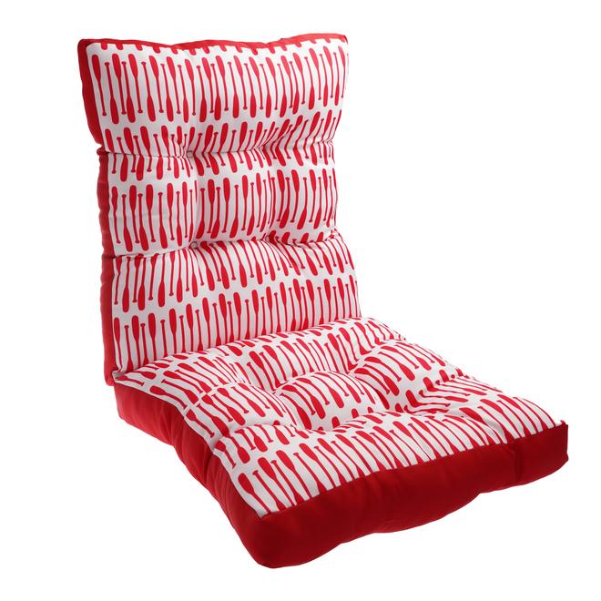 Coussin Style Selections pour chaise de patio à dossier haut, 46 po, pagaies, rouge