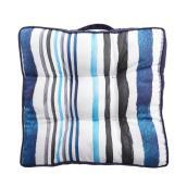 Coussin réversible Style Selections pour chaise ou sol, motif rayé, bleu
