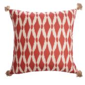 Allen + Roth Ikat Outdoor Cushion - 18-in x 18-in - Red and White