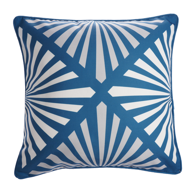 Allen + Roth Square Patio Cushion - Striped Pattern - 18-in x 18-in - Polyester - Blue