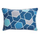 Coussin Allen + Roth pour patio à motif hexagone, 18 po x 12 po, polyester, bleu